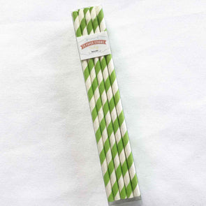Lime Green Stripe Paper Straws