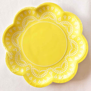 Pastel lemon lace paper party plates