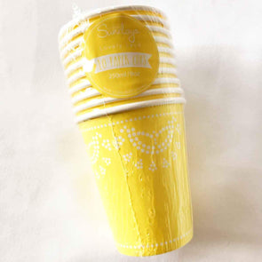 Pastel lemon lace paper party cups