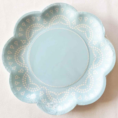 Pastel blue lace paper party plates