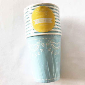 Pastel blue lace paper party cups