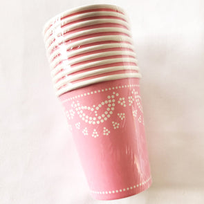 Pastel pink lace paper party cups