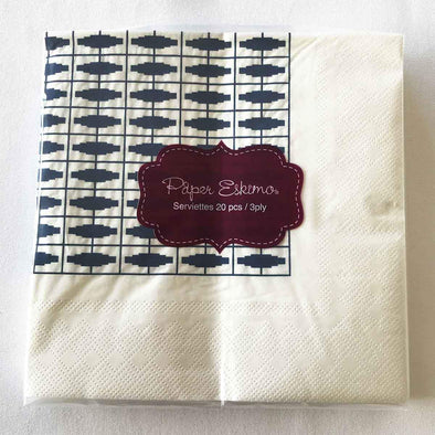 Navy and white geometric paper party serviettes