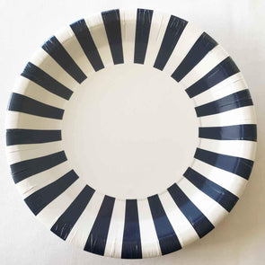 Navy and white stripe paper party plates