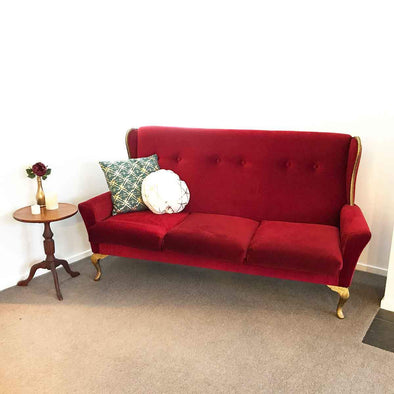 Vintage Red and Gold Couch
