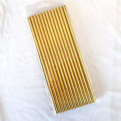 Metallic Gold Paper Straws 25 pk