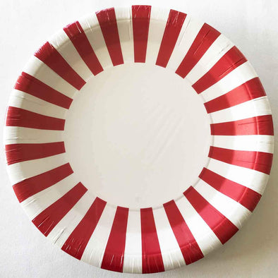 Red and white stripe paper party plates