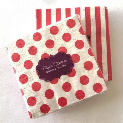 Red and white stripe paper party serviettes