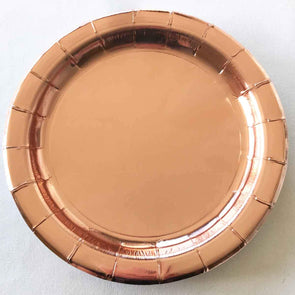 Rose gold paper party plates