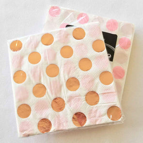 Pink and rose gold spot paper party serviettes
