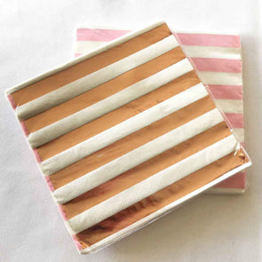 Pink and rose gold stripe paper party serviettes