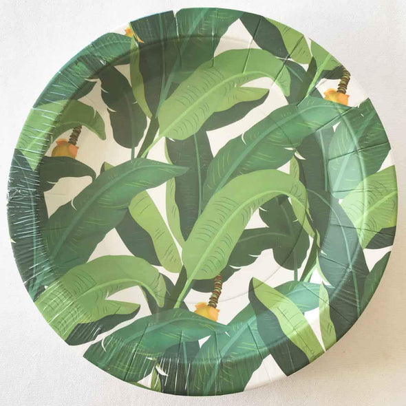 Tropical leaf paper party plates