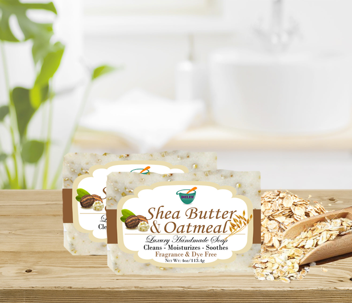 SHEA BUTTER & OATMEAL  4oz BAR SOAP