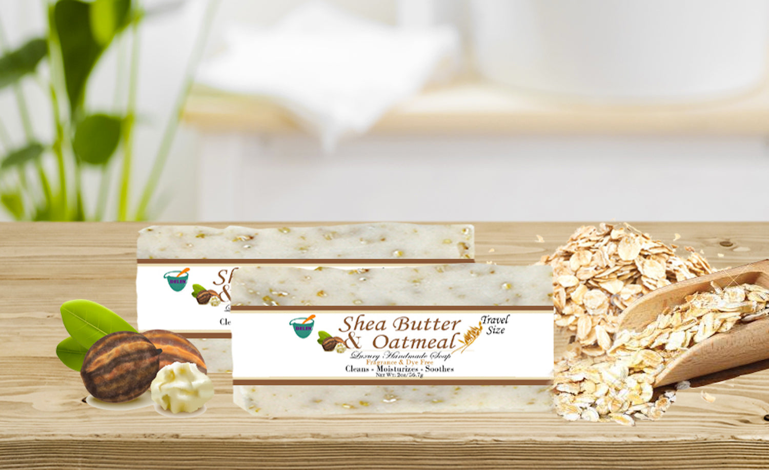 SHEA BUTTER & OATMEAL  2oz BAR SOAP