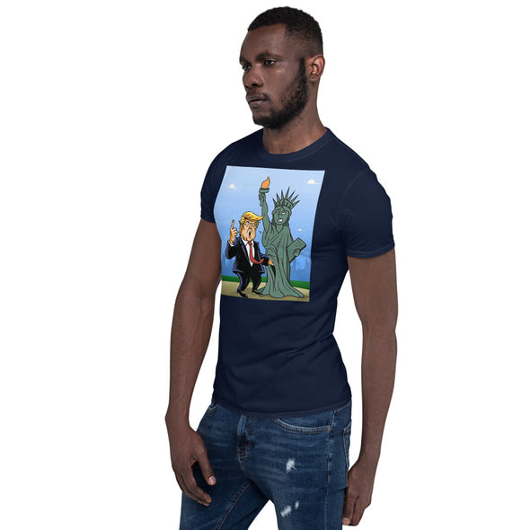 Trump Grabbing Lady Liberty by the P***y Short-Sleeve Unisex T-Shirt.
