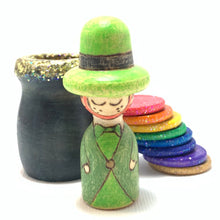 Load image into Gallery viewer, Leprechaun and Rainbow Peg Doll Playset