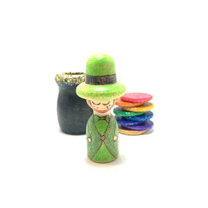 Leprechaun and Rainbow Peg Doll Playset