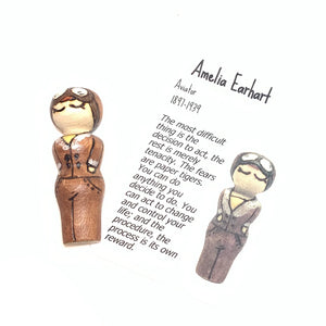 Amelia Earhart Strong Woman Peg Doll