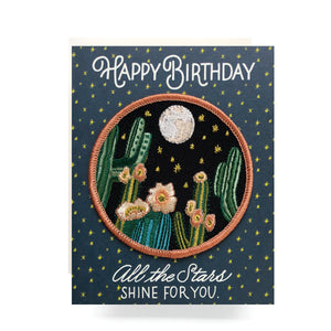 Patch Greeting Card | Night Cactus Birthday