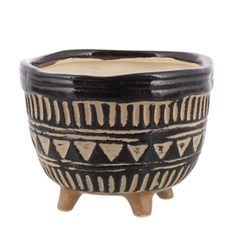 Black + White Carved Footed Planter
