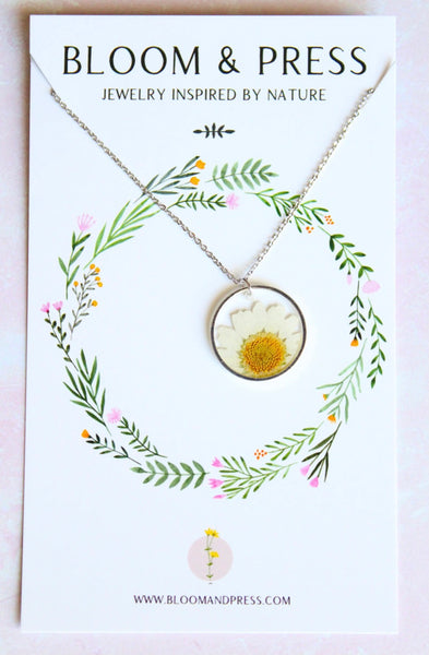 Daisy Pressed Flower Necklaces