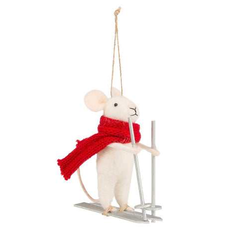 Skiing Mouse Felt Ornament