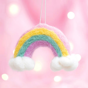 Rainbow and Clouds Felt Ornament