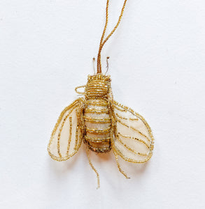 Beaded Gold Bee Ornament