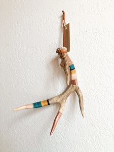 Wool Wrapped Deer Antler with Copper - Teal + Mustard Medium Whitetail