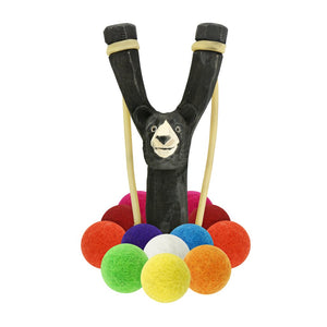 Wooden Bear Slingshot + Multicolored Felt Ammo