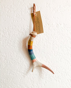 Wool Wrapped Deer Antler with Copper - Mustard + Blue Extra Small Whitetail