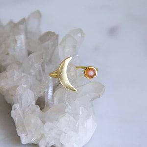 Pink Moonstone Crescent Ring
