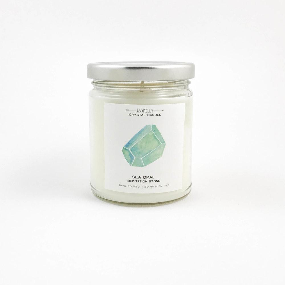 JaxKelly - Sea Opal Crystal Candle - Meditation | 9 oz