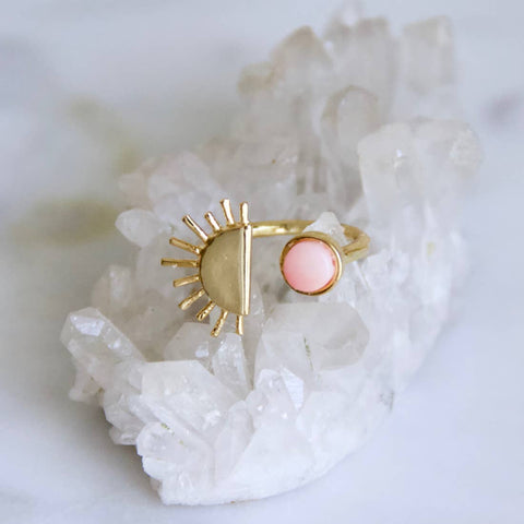 Pink Coral Half Sun Ring