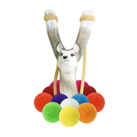 Wooden Wolf Slingshot + Multicolored Felt Ammo