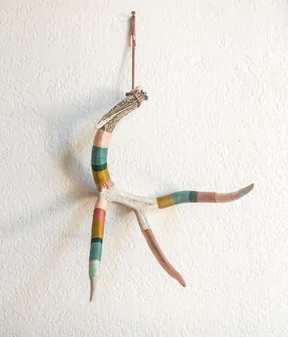 Wool Wrapped Deer Antler with Copper - Muted Rainbow Large Whitetail