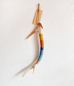 Wool Wrapped Deer Antler with Copper - Mustard + Blue Small Axis