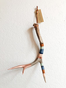 Wool Wrapped Deer Antler with Copper - Caramel + Denim Medium Whitetail