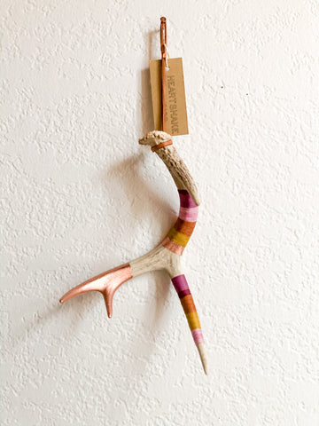 Wool Wrapped Deer Antler with Copper - Lilac + Mustard Medium Whitetail