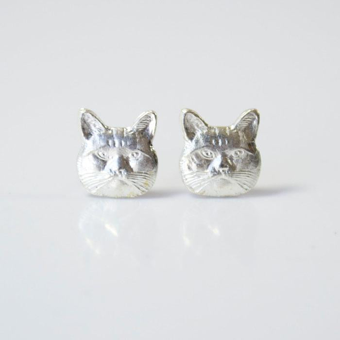 Grey Theory Mill - Silver Cat Earrings