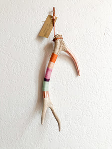 Wool Wrapped Deer Antler with Copper - Pastel Small Axis