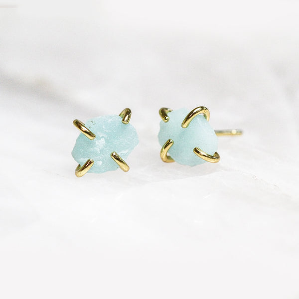 Amazonite Gemstone Prong Earrings - JaxKelly