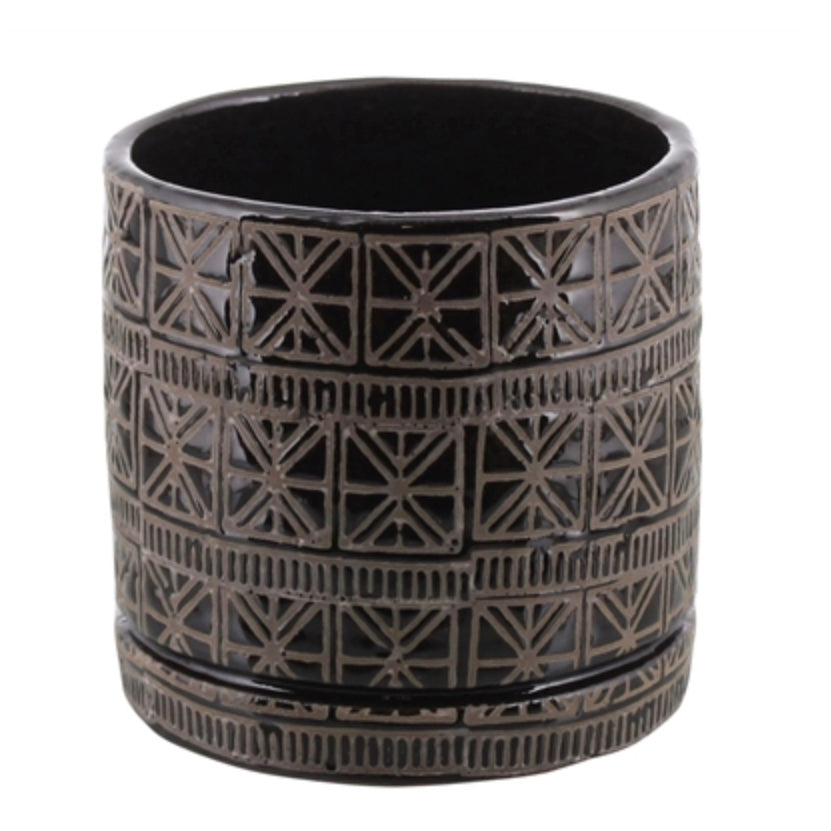 Black + White Medium Planter