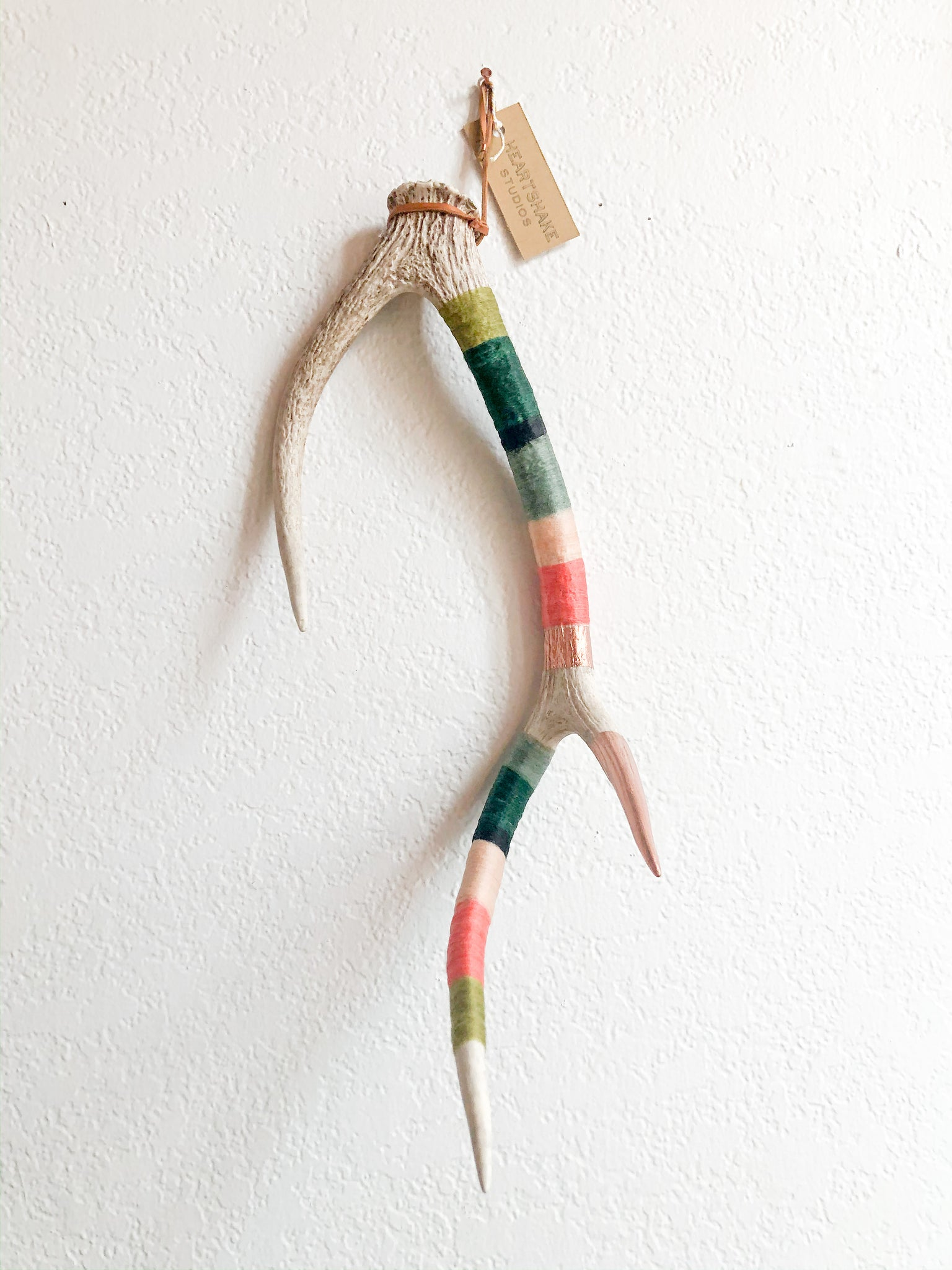Wool Wrapped Deer Antler with Copper - Green + Coral Medium Axis