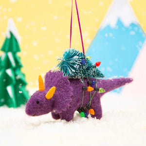 Dinosaur with Christmas Tree Felt Ornament
