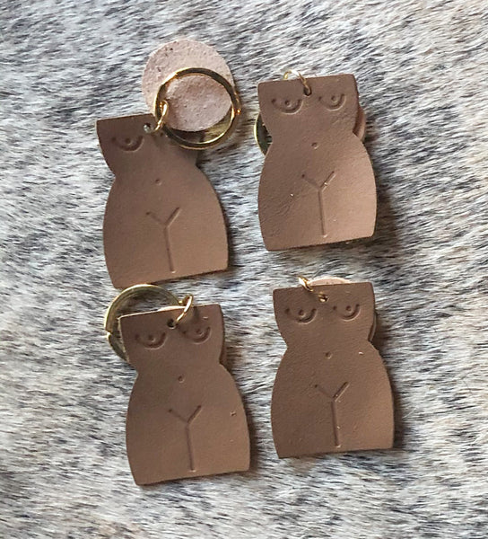 Leather Nude Figure Keychain
