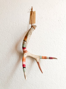 Wool Wrapped Deer Antler with Copper - Pink + Orange Large Whitetail