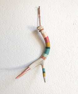 Wool Wrapped Deer Antler with Copper - Muted Rainbow Medium Whitetail