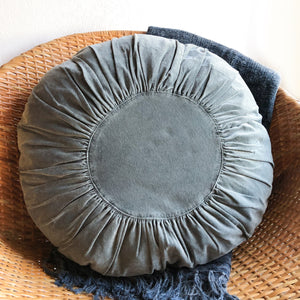 Blue Round Velvet Pillow