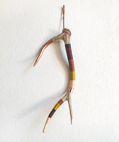 Wool Wrapped Deer Antler with Copper - Sunset Medium Axis